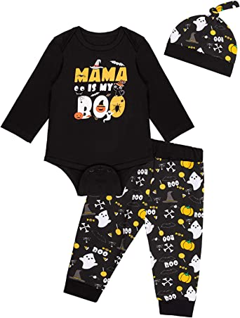 3PCS Baby Boys Mama is My Boo Outfit Set Halloween Ghost Clothes Pants with Hat