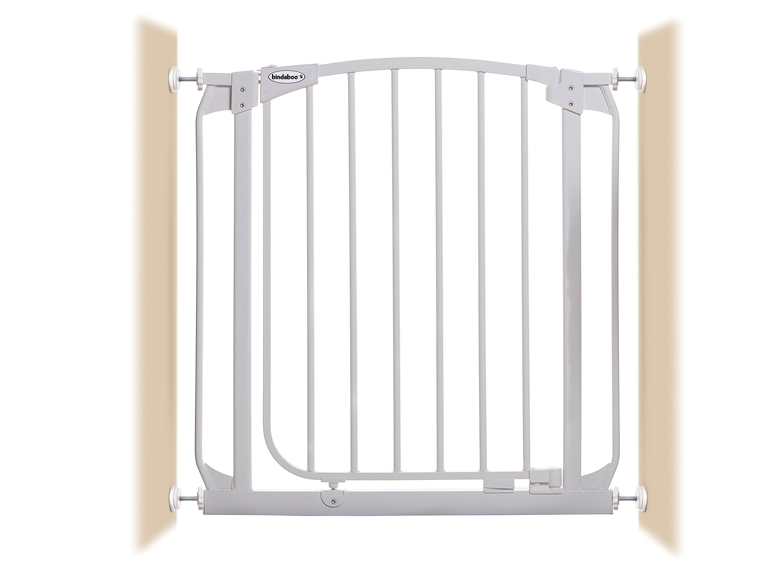 Bindaboo Hallway Pet Gate, Swing Closed, White