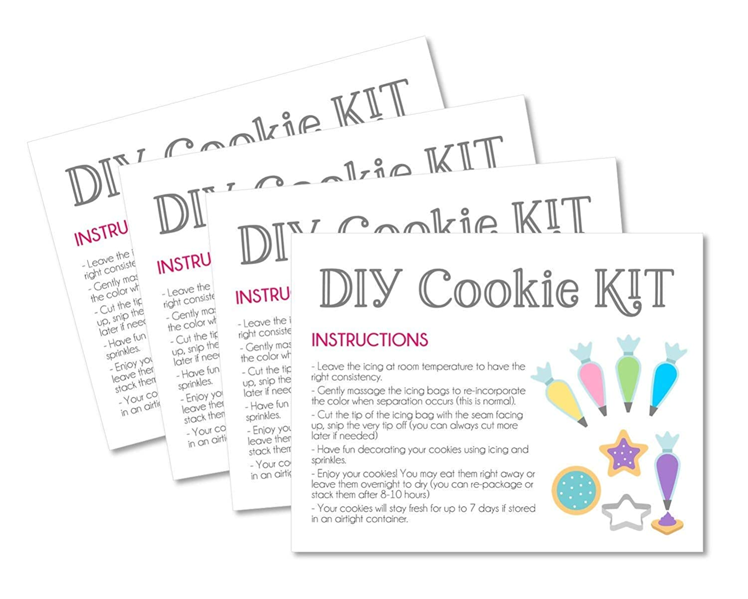 Cookie cards with instructions for DIY decorating. Instructions cards for DIY Cookie Kit