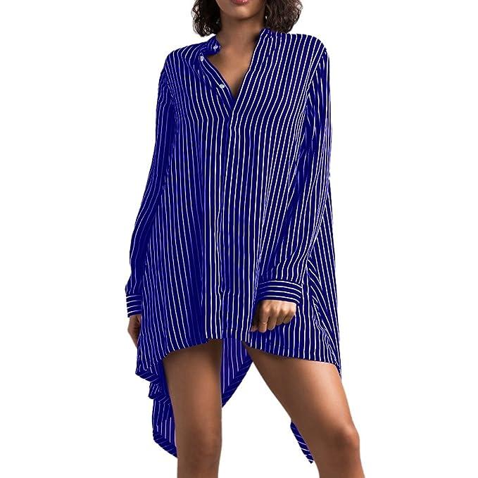 Hibote Mujeres Estilo Novio Bottom Tops Casual Blusa de Gasa Suelta Camiseta Vestido Azul S