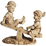 """NORTHLIGHT 11.5"""" Almond Colored Boy and Girl Playing on Seesaw Outdoor Patio Garden Statue"""