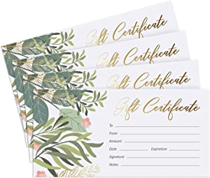 """Blank Gift Certificates for Business with Gold Foil- 25 Gift Certificate Cards with Envelopes for Spa, Salon, Restaurants, Custom Client Vouchers for Birthday, Work Gift Card – 3.7x7.5"""""""