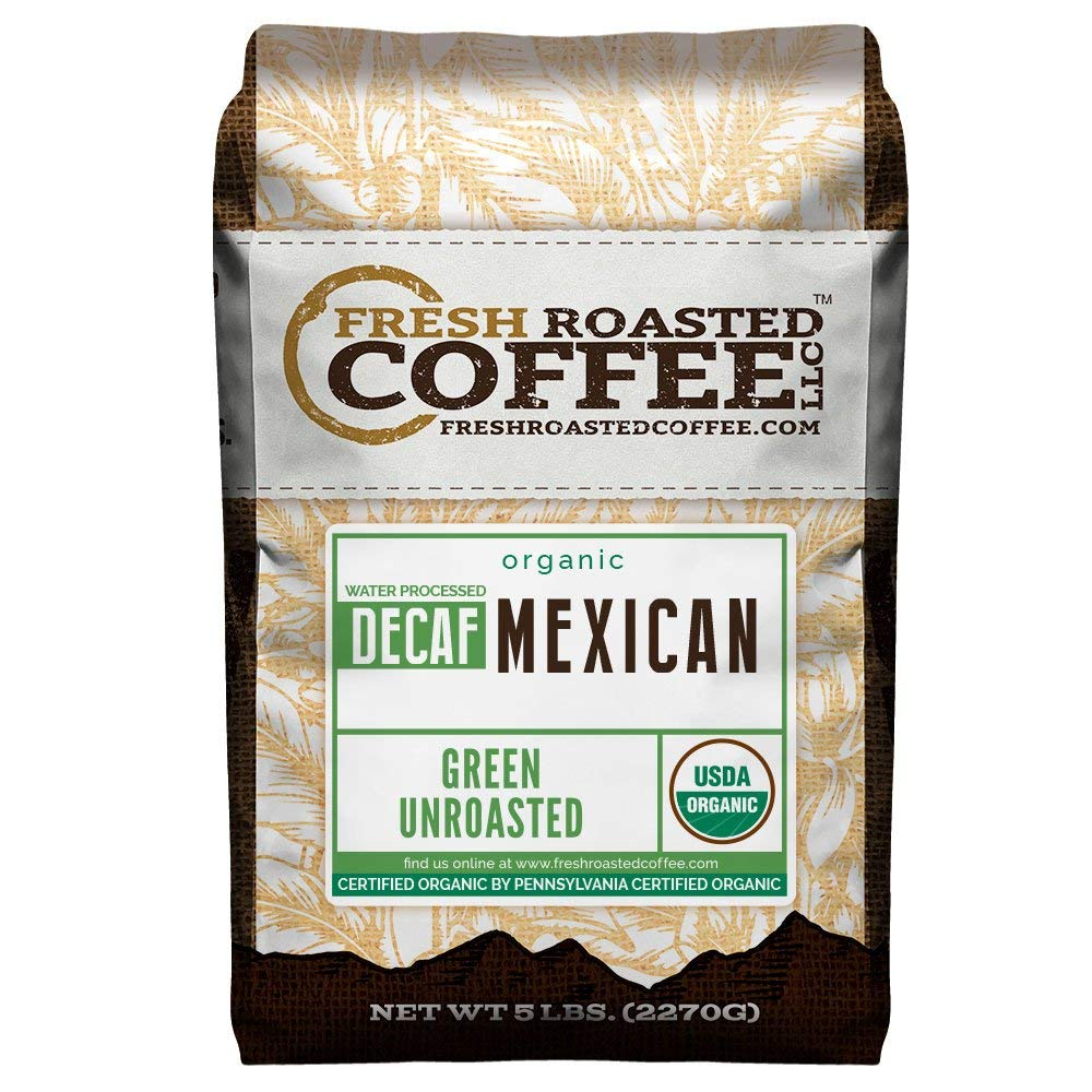 Green Unroasted Coffee Beans, 5 LB. Bag, Fresh Roasted Coffee LLC. (Organic Mexican Swiss Water Decaf) by FRESH ROASTED COFFEE LLC FRESHROASTEDCOFFEE.COM