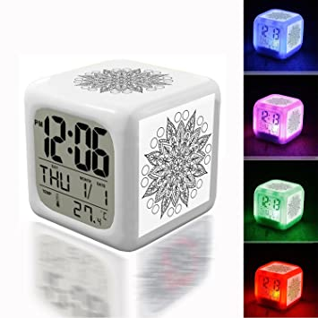 Termómetro despertador despertador, luz nocturna, cubo de 7 colores, reloj LED para dormitorio