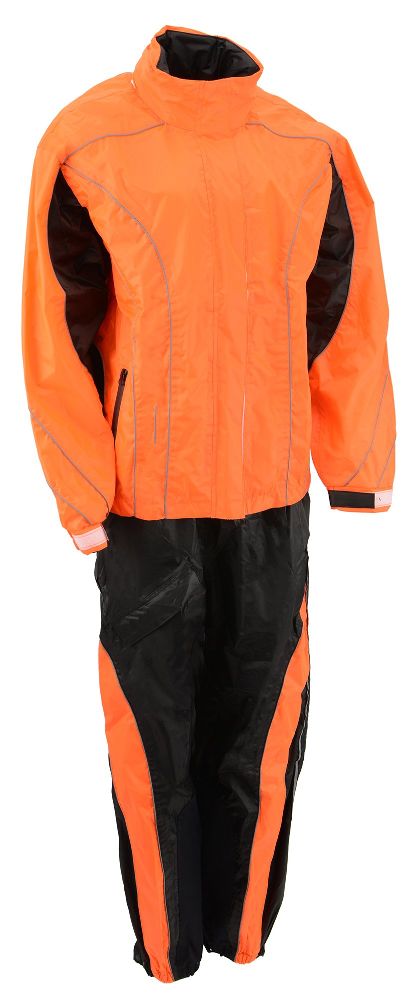 M-BOSS MOTORCYCLE APPAREL-BOS29600-BLK/NEON ORNG-Women's two piece high visibility rain suit.-BLK/NEON ORNG-2X-SMALL