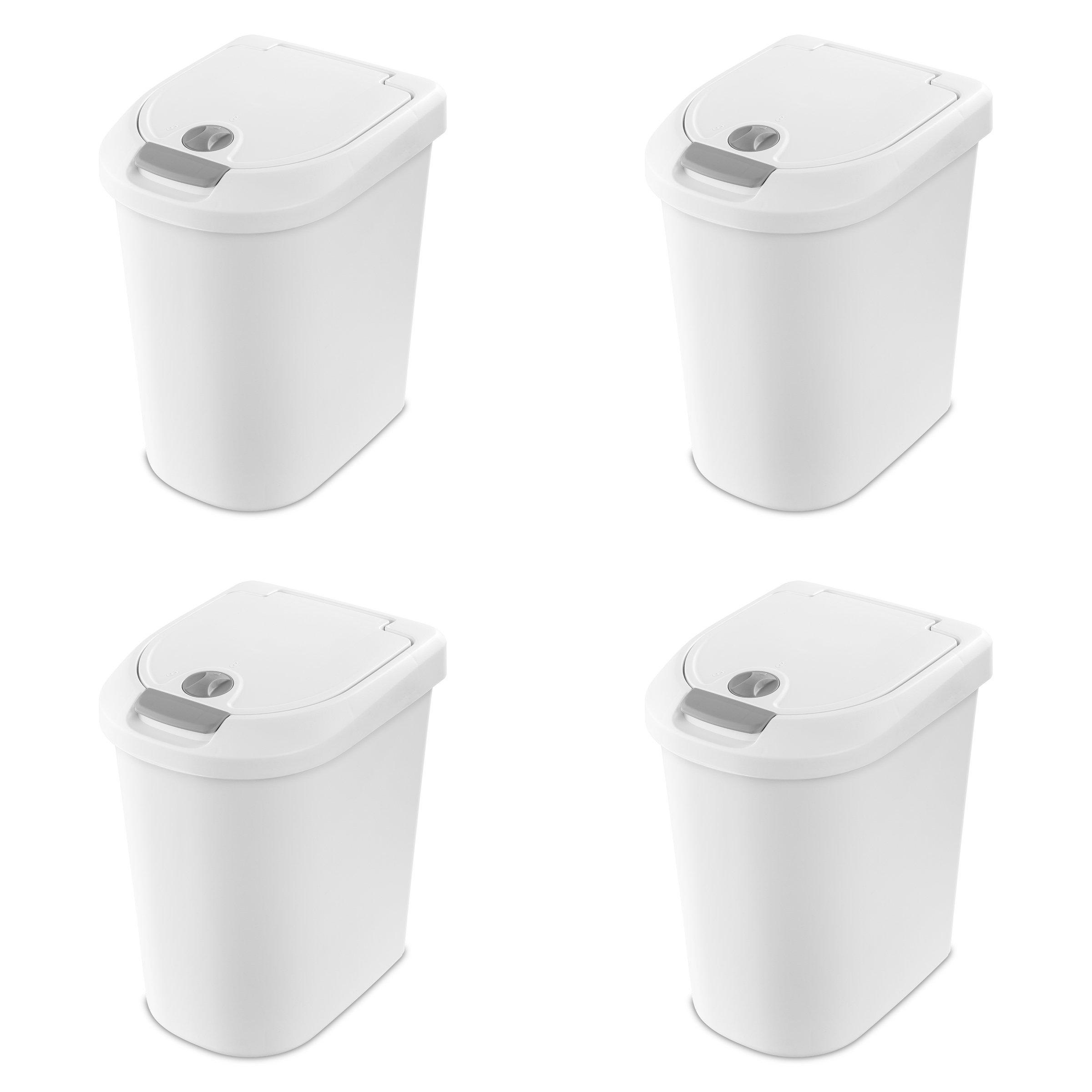 Sterilite 10998004 7.3 Gallon/28 Liter Locking TouchTop Wastebasket, White Lid & Base w/ Titanium Latch & Lock, 4-Pack