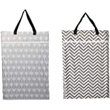 2 Pack Large Hanging Wet Bags Laundry Pail Bags Cloth Diapers Reusable (Arrow Chevron)