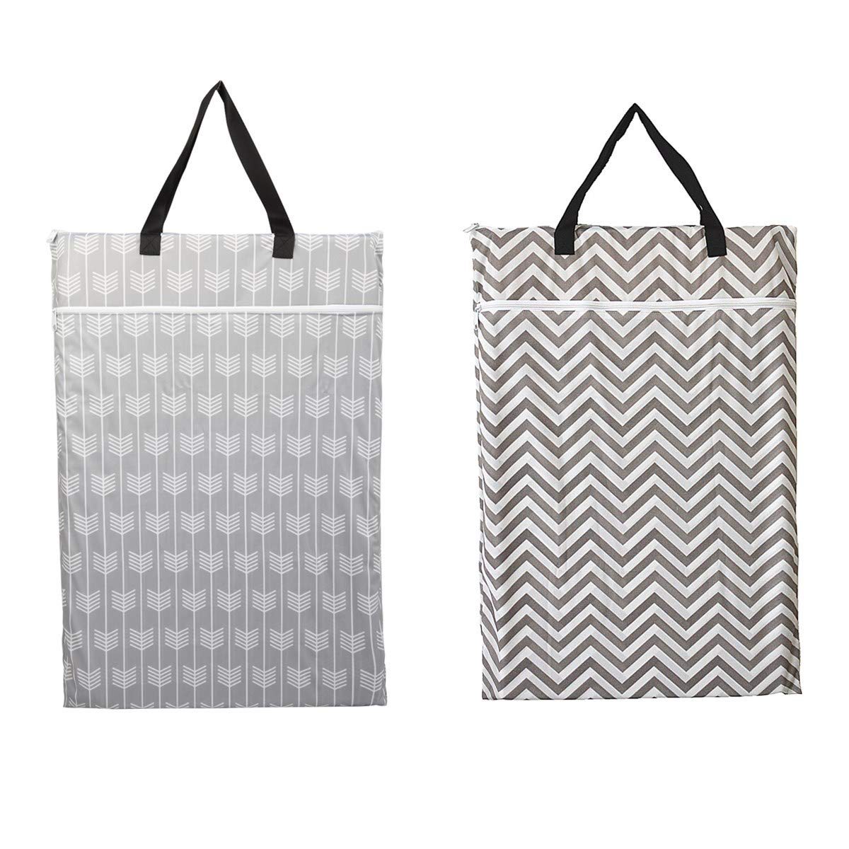 2 Pack Large Hanging Wet Bags Laundry Pail Bags Cloth Diapers Reusable (Arrow Chevron) by Sigzagor