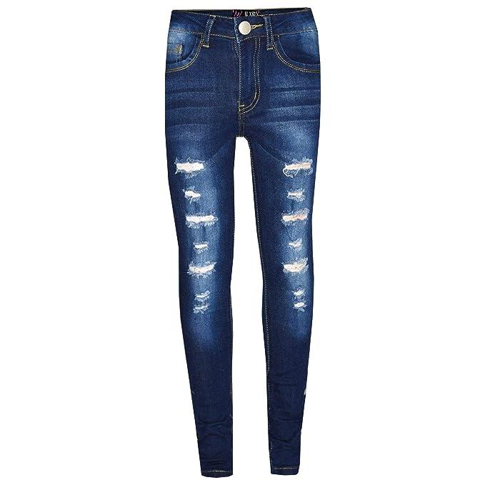 Amazon.com: Pantalones vaqueros ajustados para niñas de 3 a ...