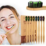 Natural Bamboo Toothbrushes 8 Packs Individual Packing TIME4DEALS Eco-Friendly Biodegradable Deep Cleaning Charcoal Soft Toothbrush with BPA Free Soft Bristles for Adult Kids Sensitive Tooth Friendly