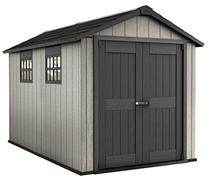 Caseta de jardín (resina, colores gris cepillado, 229 x 350 x 242 cm
