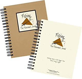 """product image for Journals Unlimited """"Write it Down!"""" Series Guided Journal, Fishing, The Fisherman's Journal, with a Kraft Hard Cover, Made of Recycled Materials, 7.5""""x 9"""""""