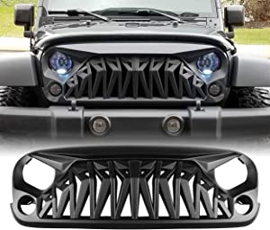 ALLINONEPARTS Matte Black Front Grill with Mesh, Shark Grille Compatible for 2007-2018 Jeep Wrangler Rubicon Sahara Sport JK JKU