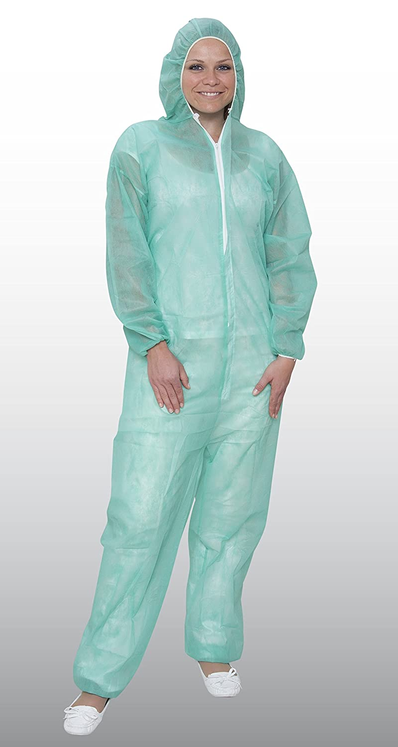 10  x Bicap disposable protective polypropylene overalls in white/blue/green, disposable boiler suit, white
