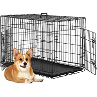 BestPet 48 inch 42 inch Large Dog Crate Dog Cage Dog Kennel Metal Wire Double-Door Folding Pet Animal Pet Cage with…