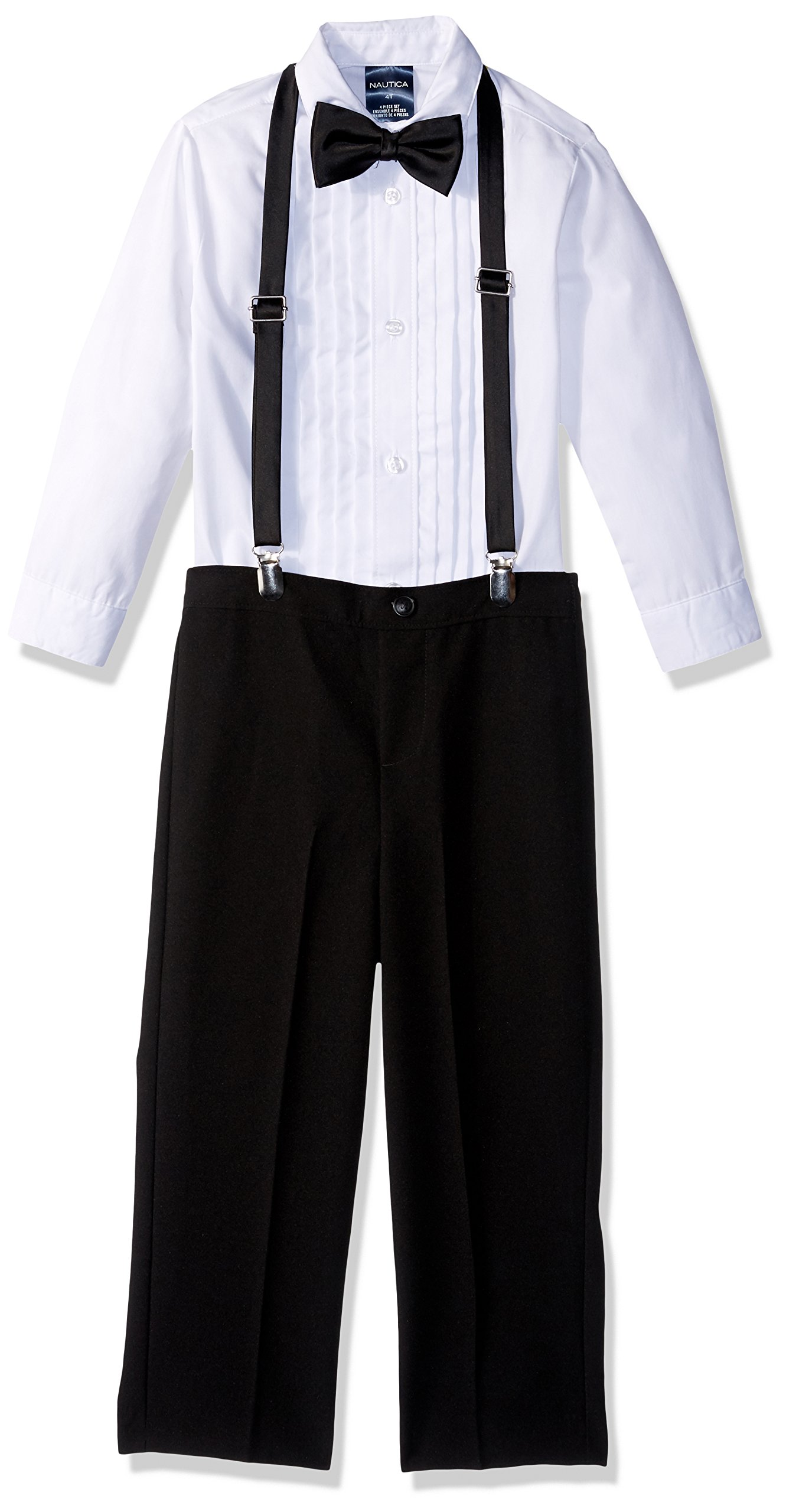 Nautica Boys' Little Set with Shirt, Pant, Suspenders, and Bow Tie, Black Tuxedo, 7