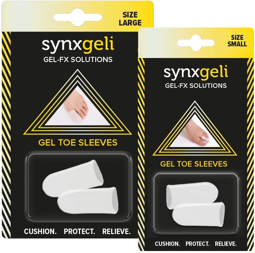 Synxgeli Toe Sleeves by Synxsole | Reduce Big Toe Trauma| Provides Protection Against Blisters, Corns, and Toenail Deformities, Large