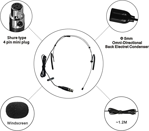 for 3.5mm plug with thread type +1//4 plug BLACK HEIMU Double Ear Wired Headset Boom Omni-Directional Microphone