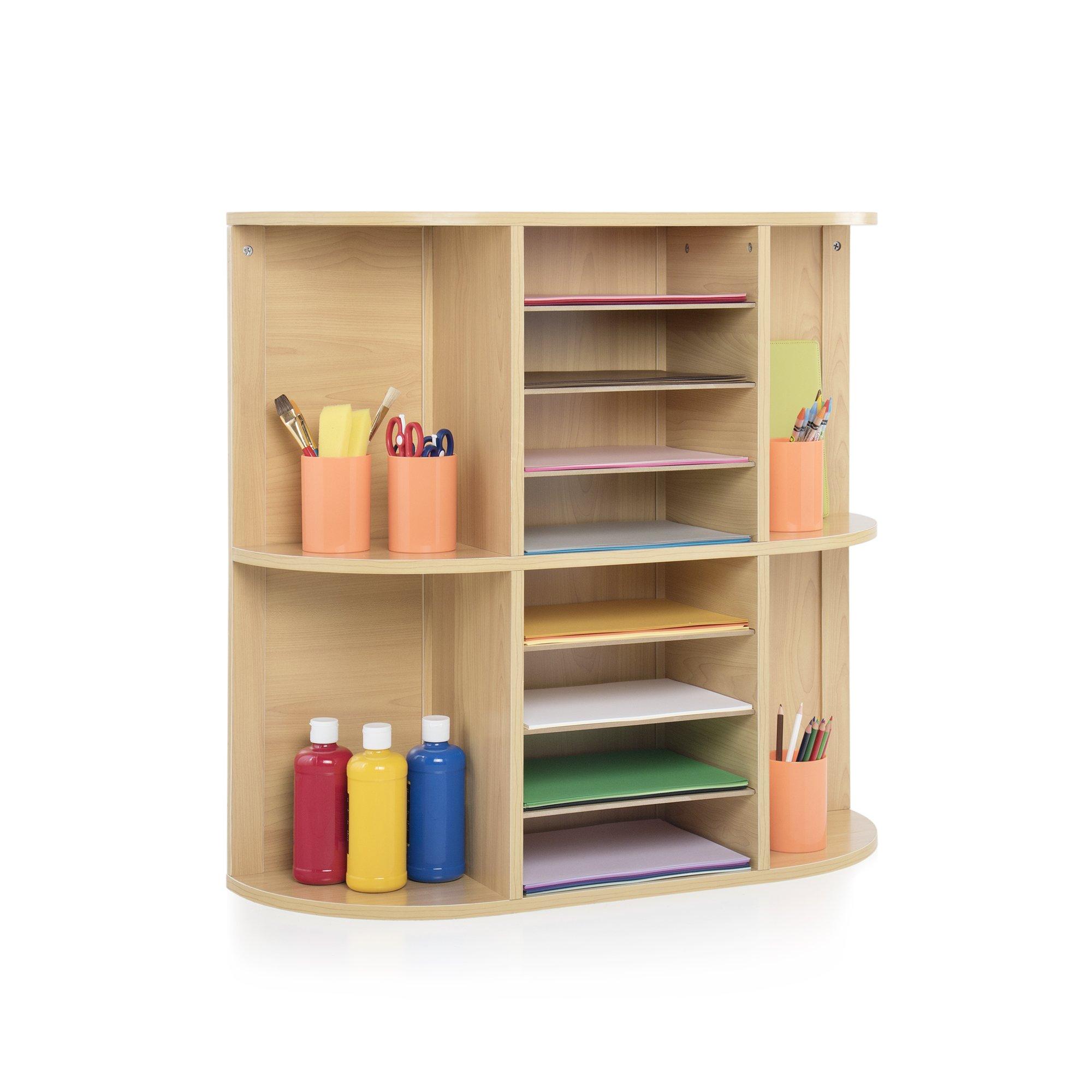Guidecraft Display and Storage Center, School Supply Book and Award Organizer Shelves, Kids Furniture