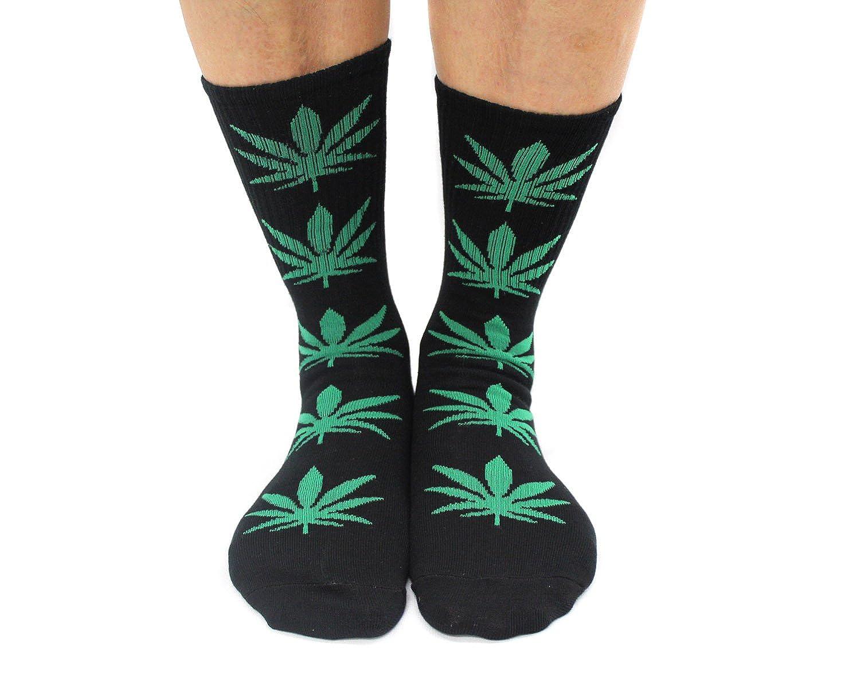 Green High Cotton Socks Marijuana Weed Leaf Black