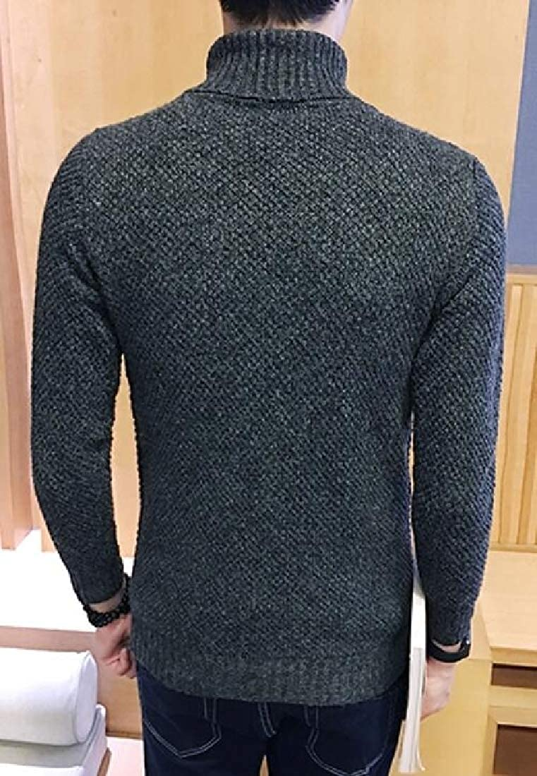 UNINUKOO Unko Mens Winter Turtleneck Long Sleeve Thicken Warm Casual Pullover Sweaters