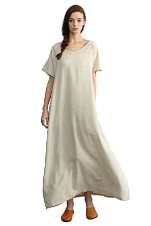 Sellse Women\'s Linen Loose Summer Large Size Long Dress Plus Size Cotton  Clothing