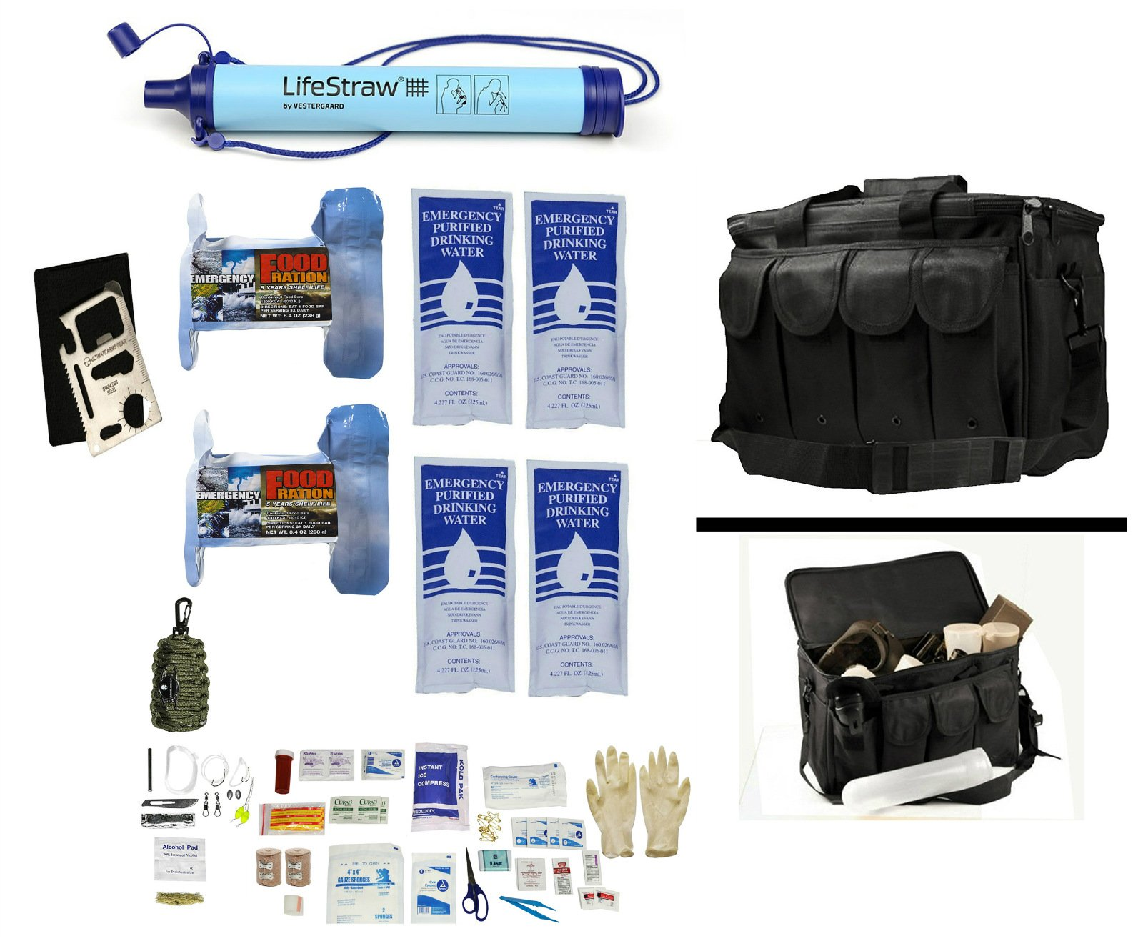2 Person Supply 1 Day Emergency Bug Out S.O.S. Food Rations, Purified Drinking Water, LifeStraw Personal Filter + Ultimate Arms Gear Duty Gear Bag + Survival First Aid Kit & Multi Tool Set by Ultimate Arms Gear