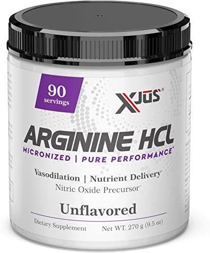 Xjus Arginine-HCl, Increase Blood and Oxygen Flow, Micronized for Fast Absorption, Vegan Friendly, No Filler Ingredients, 90 Servings