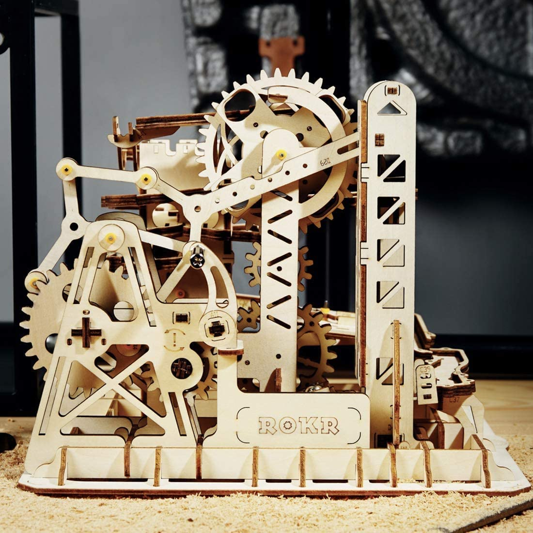 ROKR DIY Wooden Model Kits Mechanical Gear Drive 3D Puzzle Toy for Adult Teens