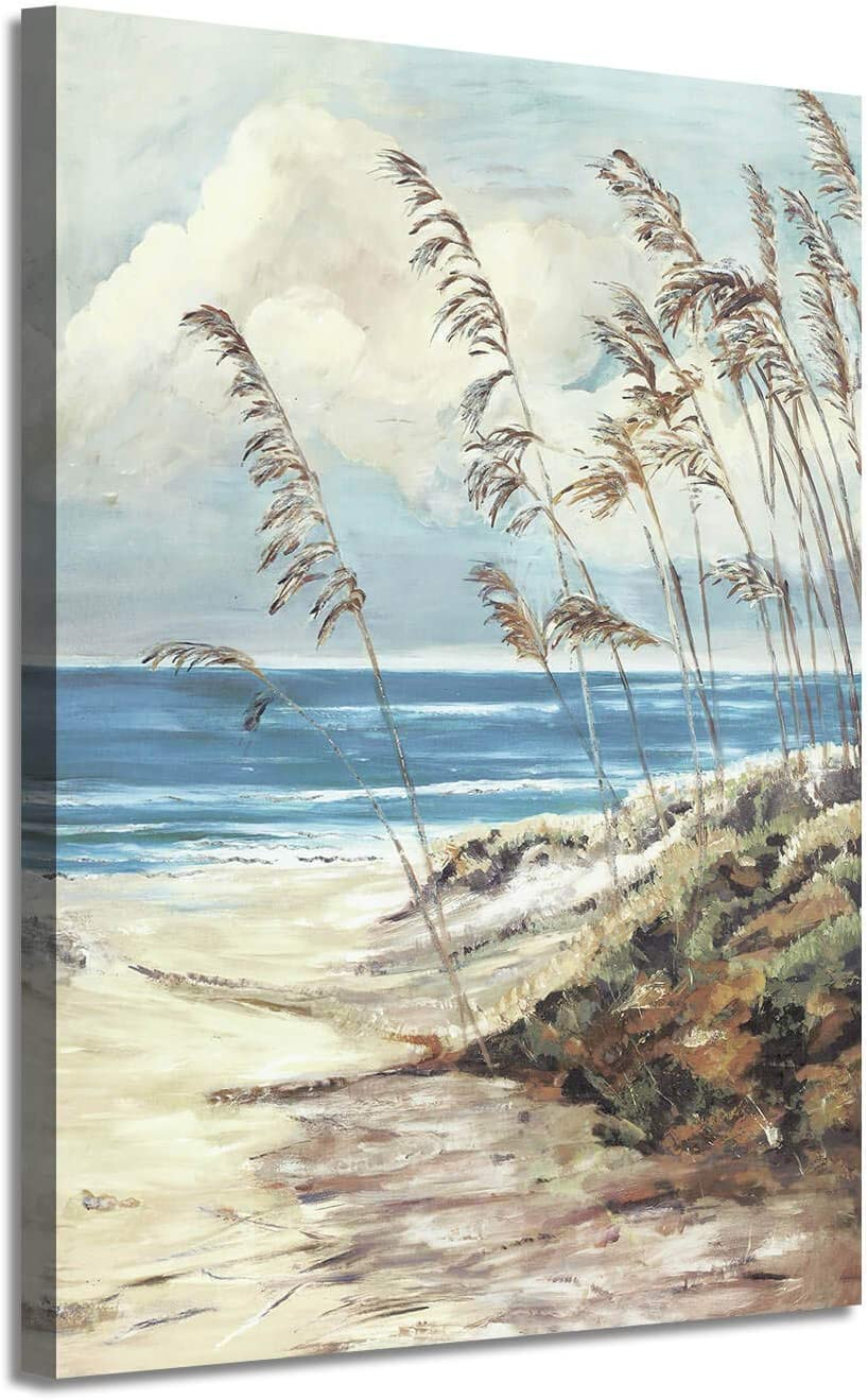 Abstract Wall Art Coastal Pictures: Blue Ocean Sand Seascape Painting Print on Canvas for Bedrooms(16