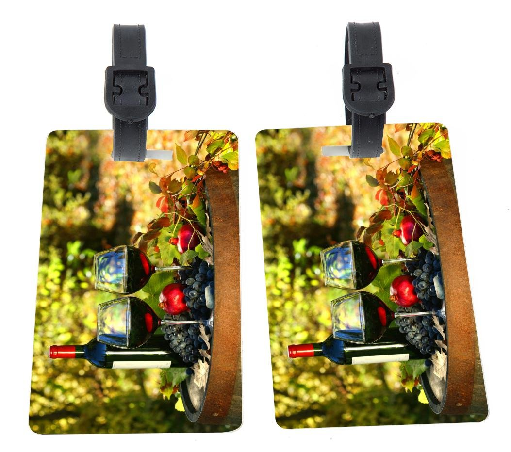 Rikki Knight Wine Glasses on Barrel Design Premium Quality Plastic Flexi Luggage Tags with Strap Closure - Great for Travel (set of 2)