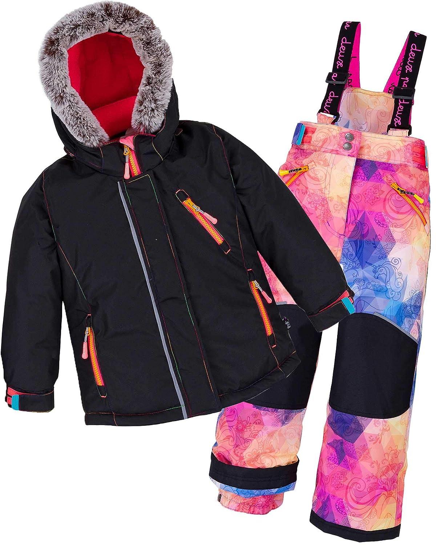 Deux par Deux Girls' 2-Piece Snowsuit Kaleidoscope Unicorn, Sizes 5-14