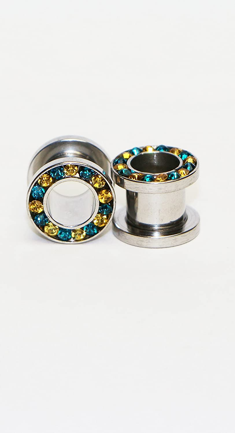 Hypoallergenic Surgical steel Silver Open Ear Gauges rounded w// Yellow and Aqua stones