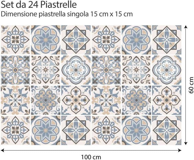 Firenze PS00023 Adhesivo para Azulejos 20x20 cm Adhesivo Decorativo para Azulejos para ba/ño y Cocina Stickers Azulejos 24 Piezas Collage de Azulejos