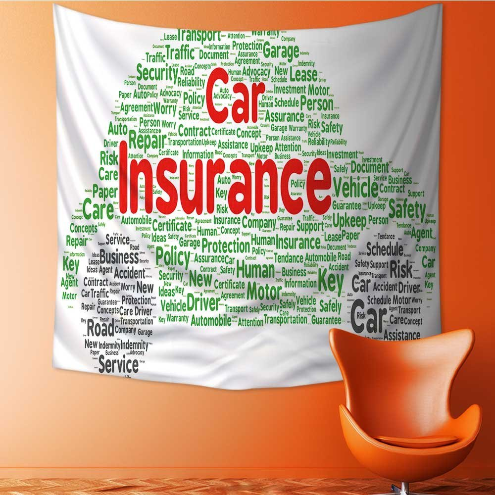 Amazoncom Muyindo Tapestry Wall Hanging Decor Car Insurance Word