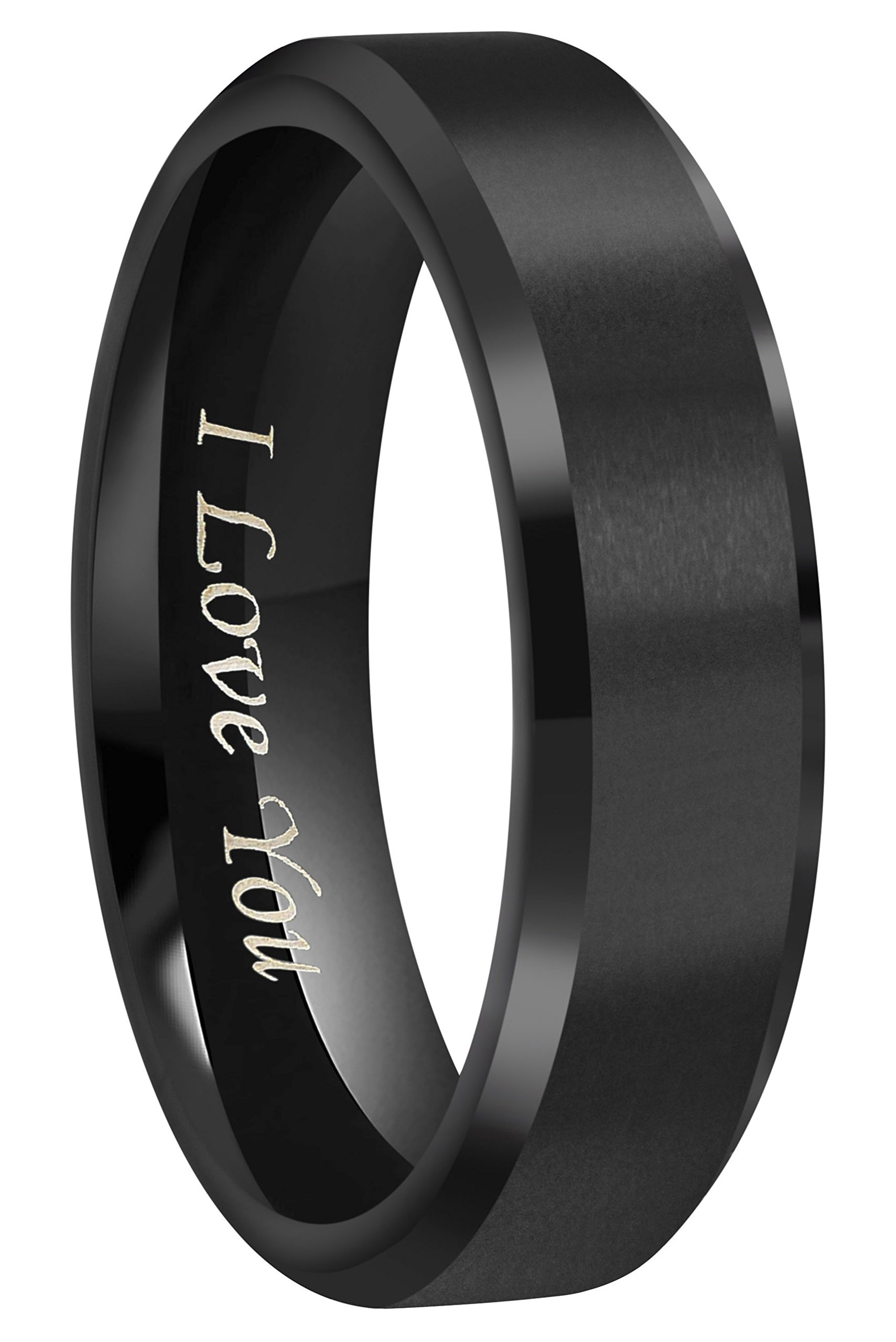 4mm/6mm/8mm Black Titanium Wedding Couple Bands Rings Men Women Matte Finish Beveled Edges Engraved ''I Love You'' Comfort Fit Size 4 To 16 (6mm,6)