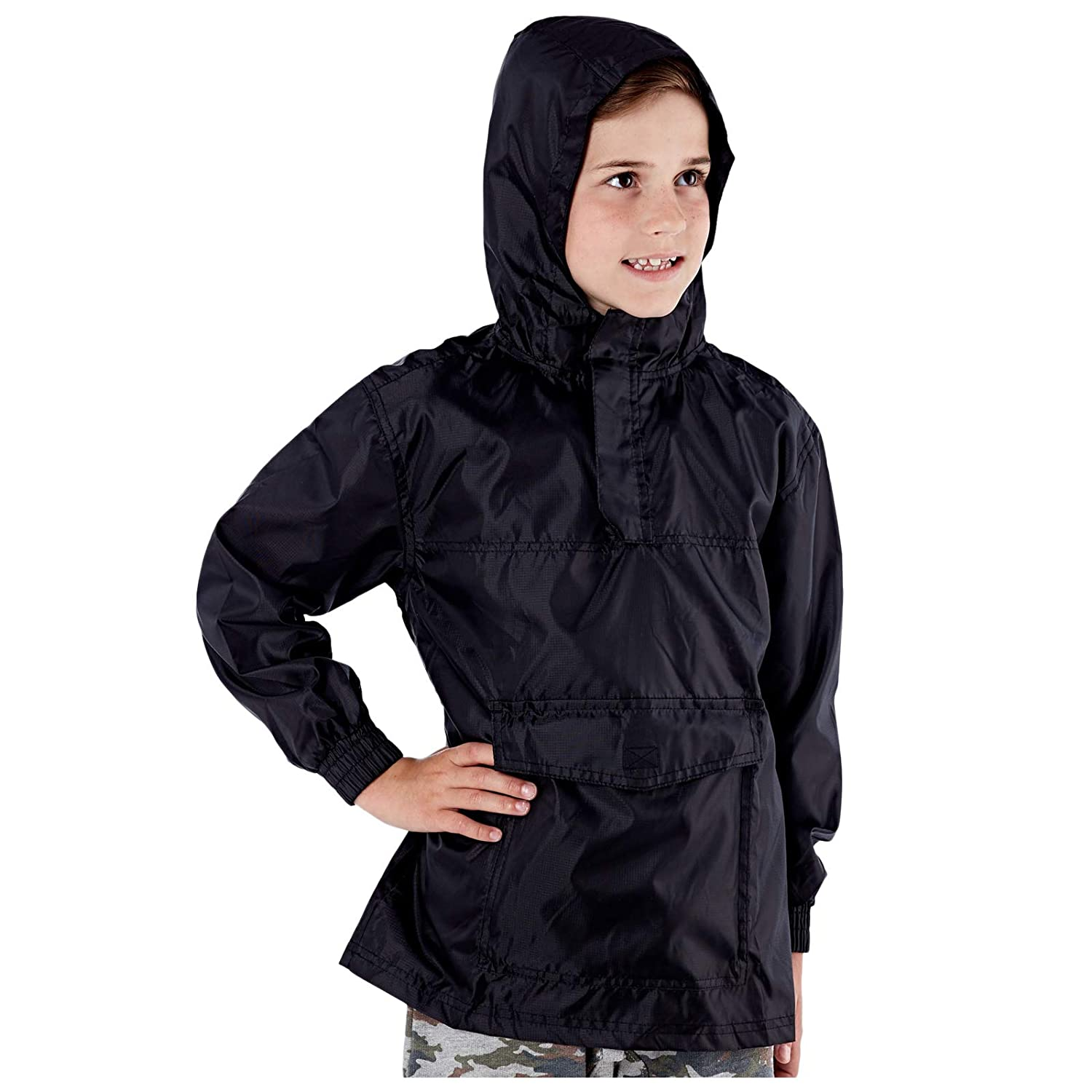 Children Waterproof Cagoule Boys Girls Kids Rain Cover up Hooded pac mac anorak