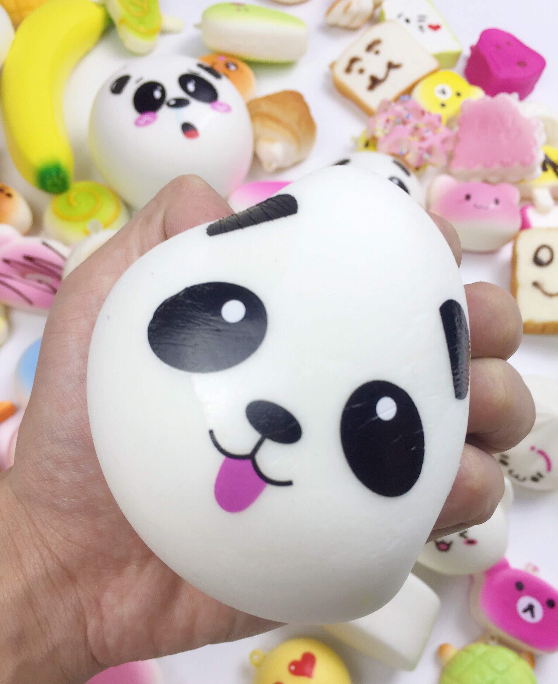 50 Pcs Kawaii Squishies Slow Rising Jumbo/Medium/Mini Random Cake Bread Panda Bun with Phone Straps Kids Pretend Play ibloom squishy