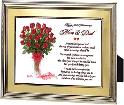 Amazon Com Mom And Dad Gift For 50th Anniversary Parents Anniversary Poem In Gold Frame Picture Frame Sets