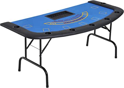 """Soozier 72"""" Folded 7 Player Poker Blackjack Table with Chip&Cup Holder"""