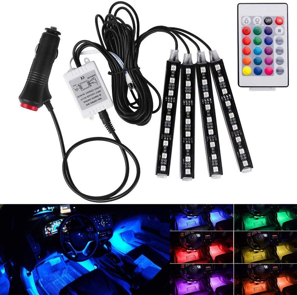 Hihey Led Auto Atmosphäre Licht Auto Innen Dekorative Lichtleiste 5050 9rgb Leds Mehrfarbig Wasserdicht Leuchten Neon Auto