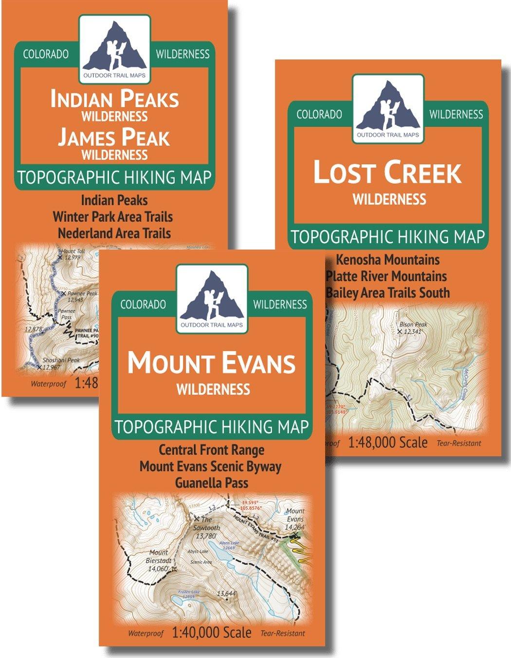 Denver/Boulder Backng Map Pack: Indian Peaks/James Peak, Mount Evans, on beaver creek trail map, twin sisters trail colorado map, island lake trail colorado map, crags trail colorado map, rainbow trail colorado map, waterton canyon trail map, three lakes trail colorado map,