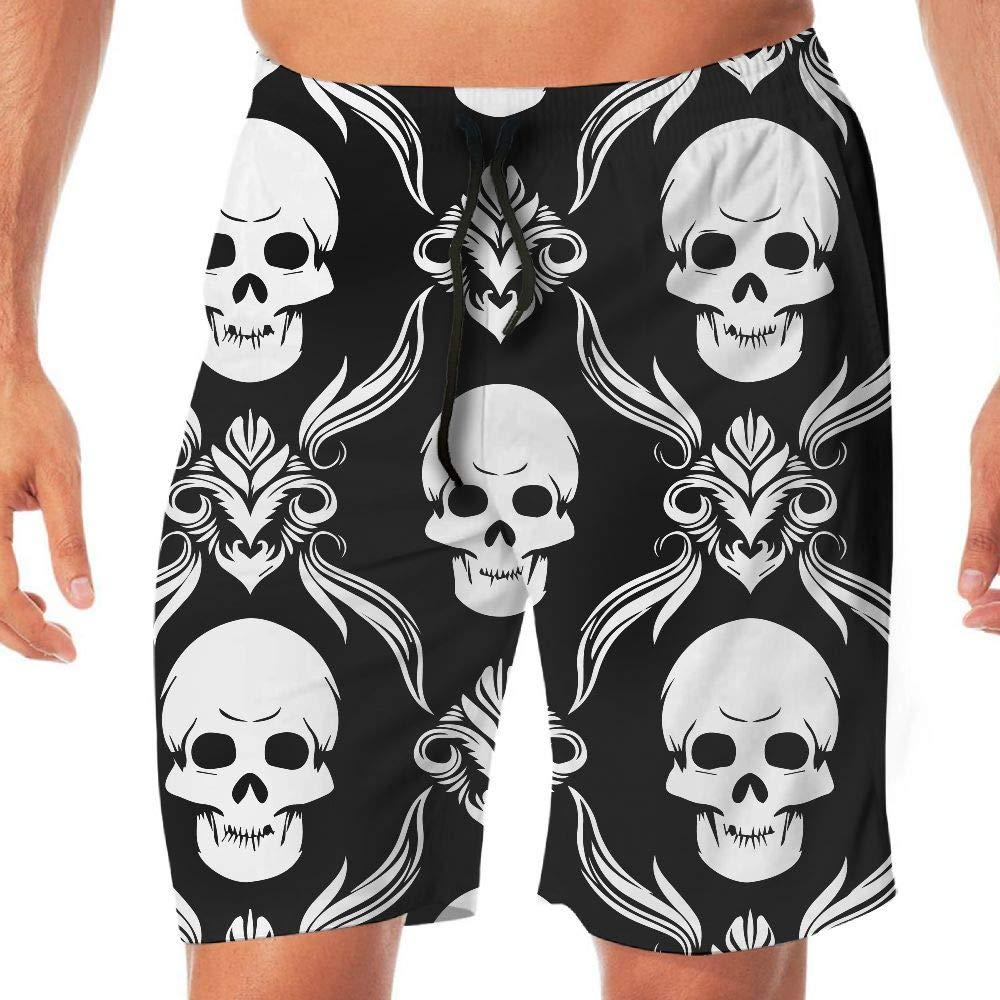 STDKNSK9 Mens Skull Pattern 2 Boardshorts Swim Trunks No Mesh Lining