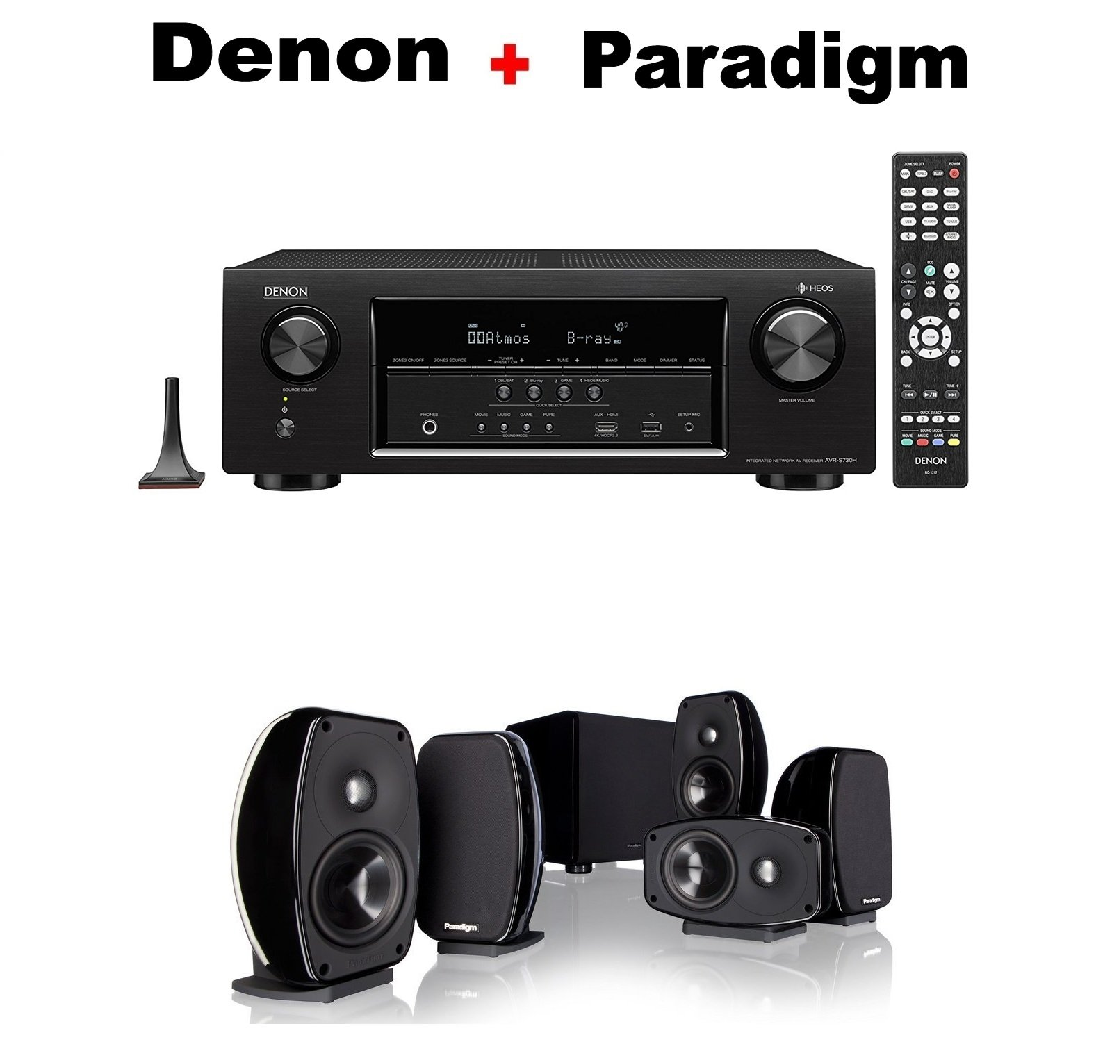 Denon Audio & Video Component Receiver Black (AVRS730H) + Paradigm Cinema 100 CT 5.1 Home Theater System Bundle by Denon