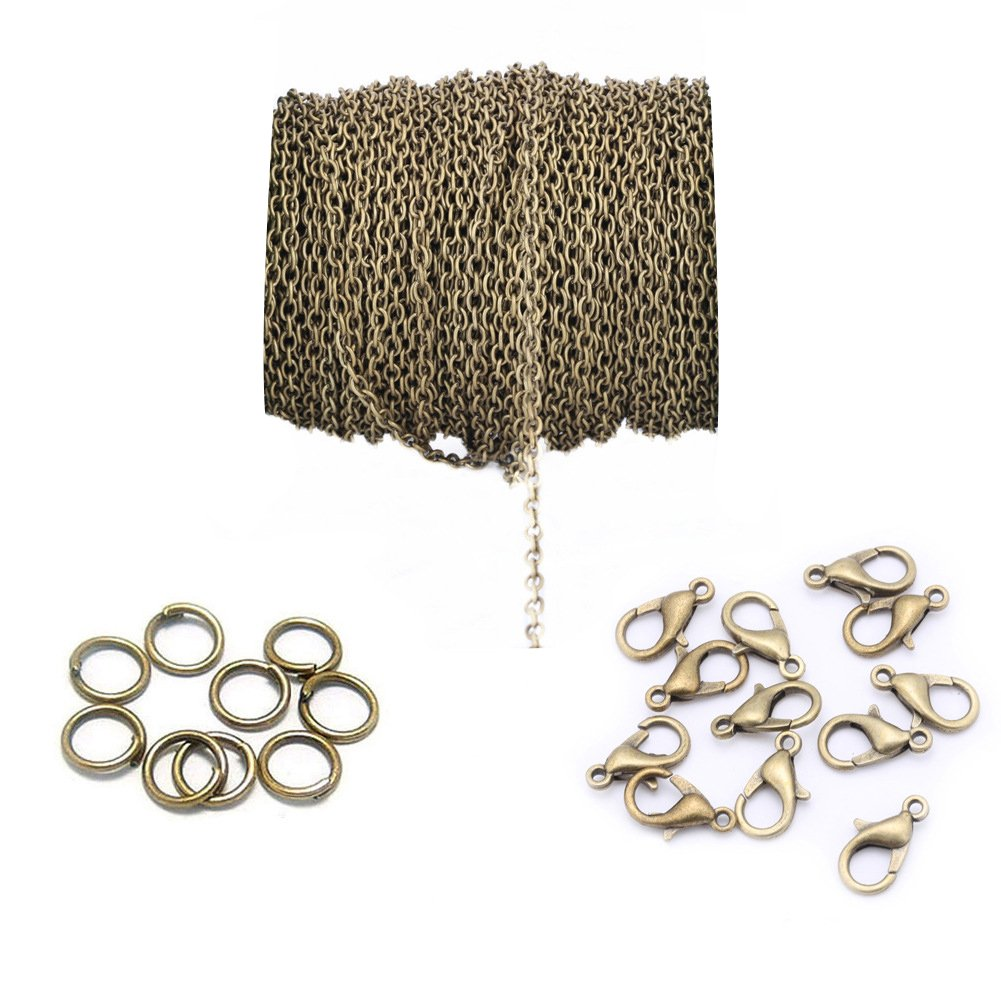 DIY necklace kit 6 meters gold chain 10 lobster claw clasps and 10 jump rings