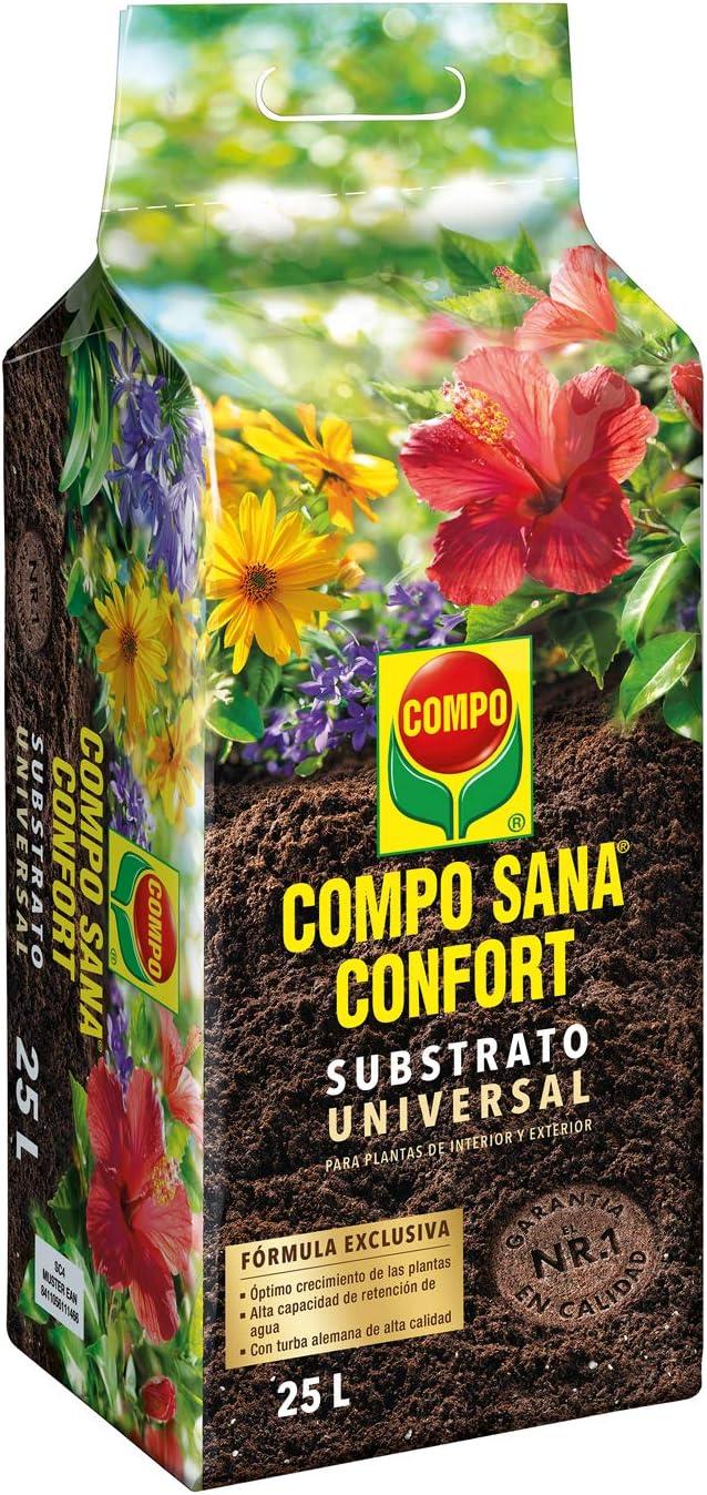 Compo Sana Confort Universal Substrato de calidad para macetas con 12 semanas de abono para plantas de interior, terraza y jardín, 50% menos de peso, Substrato de cultivo, 25 L, 1114604011