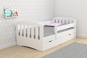 lit enfant 80x180 cm classic 1 avec barriere de securite sommier tiroirs matelas - Lit Enfant Avec Tiroir