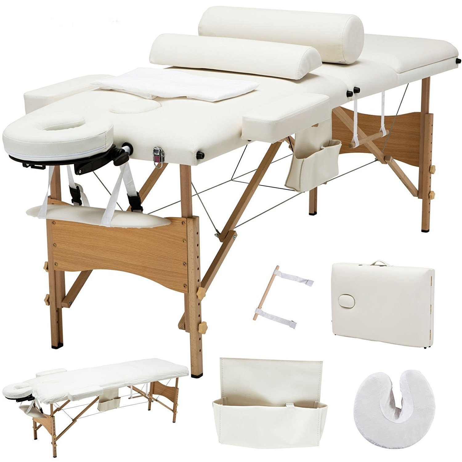 84''L 3 Fold Portable Facial SPA Bed Massage Table Sheet+2 Bolster+Cradle+Hanger + FREE E-Book