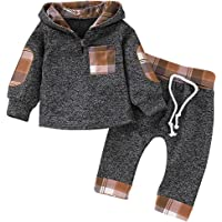 SANMIO Infant Toddler Baby Boys Girls Hoodie Outfit Plaid Pocket Sweatshirt Jackets Shirt+Pants Clothes Set for Kids