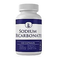 Sodium Bicarbonate Antacid (100 Capsules, 1740 mg), Natural Antacid for Acid Indigestion, Heartburn
